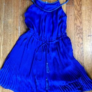 Sapphire blue Silk pleated tunic top Boho beauty!!